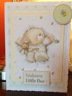 """Items similar to Handmade Forever Friends """" New Baby Card """" on Etsy Forever Friends Cards, Friend Cartoon, New Baby Cards, Love Bear, Tatty Teddy, Welcome Baby, Card Sketches, Baby Party, Creative Cards"""