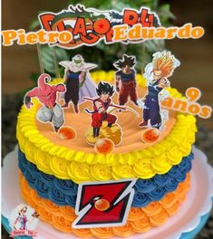 Inspire sua Festa ® | Blog sobre festas e maternidade Goku Birthday, Naruto Birthday, Dragon Birthday, Dragon Party, Birthday Cake, Ball Birthday Parties, Birthday Celebration, Dragonball Z Cake, Buttercream Cake