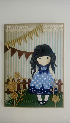 Girl doll card Spellbinders Cards, Kids Birthday Cards, Die Cut Cards, Punch Art, Kids Cards, Cute Cards, Paper Piecing, Scrapbook Cards, Girl Dolls