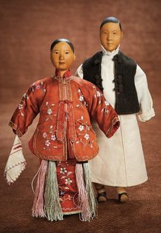 At Play in a Field of Dolls (Part 1 of 2-Vol set): 174 Two Chinese Wooden Door of Hope Dolls as Bride and Groom
