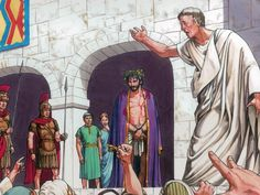 68 Free Visuals for  The trial of Jesus  Jesus is questioned by the Jewish leaders, Herod, and Pilate. Includes Peter denying Jesus. Matthew 26:57-70, 27:1-7, 19-21, 24-31, Mark 15:6-10, Luke 22:58-62, John 18:28-38, 19:1-14