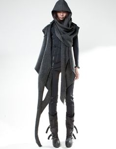 Demobaza, dystopian fashion. I looked at this initially and thought...Ooo awesome parkour outfit, 'cause I'd look like an urban ninja... but then I realized I'd just strangle myself on all the extra material and boots like that would twist my ankle after the first serious drop... never mind balancing. Ah well, I still like the look.