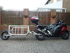 """""""The Busa Trailer,"""" a story from the UK about how to make your own single wheel motorcycle trailer for a sport-bike.   Send in your own story or project here at the bottom of the About page, http://pbmotorcycletrailer.com/about/"""
