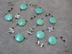 Sterling Fresh Water Pearl and Magnesite Necklace by Emkai Design. Come see more of her work at 3rd Annual Vintage Jewelry Sale & Tea A showcase of Vintage and Artisan Jewelry, Saturday, February 7th, 2015 at The Community House, Birmingham, MI