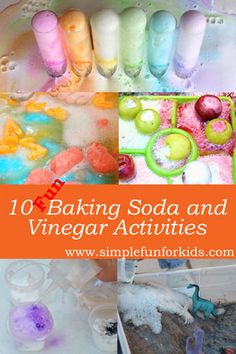 Science for kids: The baking soda and vinegar reaction never gets old - here are 10 fun variations for you to try! by renee Science Activities For Kids, Preschool Science, Elementary Science, Science Fair, Stem Activities, Science Projects, Science Experiments, Toddler Activities, Learning Activities