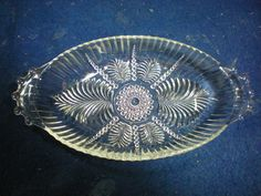 """Antique Depression Clear Glass Beaded Handles Fern Pattern Oval Relish Dish. The dish is from a very old Estate in Buffalo New York. Measures 8 1/4"""" length by 4 3/8"""" width by 1"""" height. 