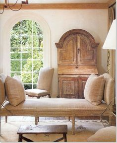 Haus Design: Ooh-La-La: Oh So French! The desk/armoire in the back is beautiful - love the arch shape and the color/condition of the wood