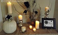 Easy,  Elegant, and Inexpensive Halloween centerpiece for your table - how to create this look using common household items.