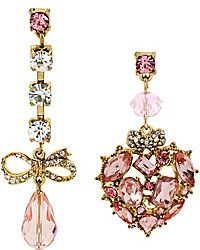 Pink Crystal Mismatched earrings. Betsey Johnson