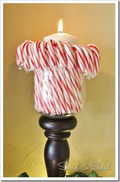 Candy Cane Candle - and other holiday decorating ideas.