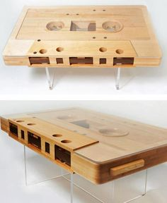 Mixtape Table - This coffee table in the form of a cassette tape leaves no room to the 80's. Made with walnut (wood reforestation) and acrylic resin that replica in size 10:1 brings a nostalgic feel to any space.