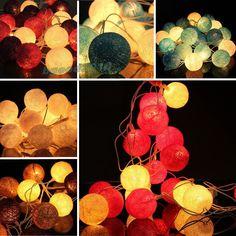 20 COTTON BALL FAIRY LED STRING LIGHTS WEDDING PARTY PATIO CHRISTMAS DECOR 220V