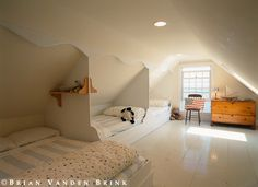 My dad turned our attic into a bedroom for 6 daughters, with bunkbeds. Here's a simpler scenario. #declutter