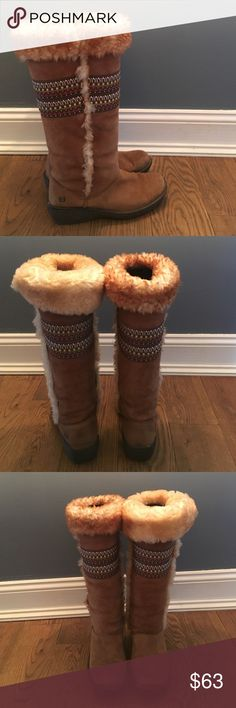 Born Leather Shearling Tall Boots Embroidered, Gently Used Condition. Just as warm and comfy as uggs, but with a more durable sole. Real leather and Shearling.very warm. Size 8.5. Can be worn rolled calf length, all the way up, or rolled over as pictured Born Shoes