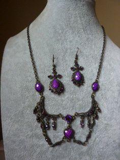 Antique Vintage Art Deco Czechoslovakia Amethyst Glass Ornate Necklace Earrings | eBay