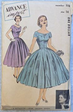 Vintage-1950s-Advance-113-Designer-Cocktail-Party-Dress-Pattern-Size-14