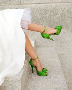 Green Satin Peep Toe Wedding Shoes with Bow