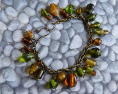 Antiqued Brass and Glass Bead Bracelet