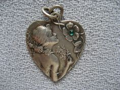 Antique German Art Nouveau Dep 800 Silver Floral Portrait Heart Charm w Stone | eBay