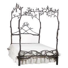 Enchanted Forest Queen Canopy Bed with Upholstered Headboard - Upholstered Beds and Headboards - Bedroom and Bath - Furniture Fairy Bedroom, Fantasy Bedroom, Dream Bedroom, White Bedroom, Bedroom Themes, Bedroom Decor, Bedroom Ideas, Bedroom Inspo, Bedroom Inspiration