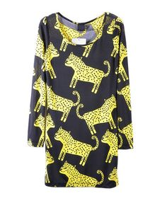 Leopard Print Smock Dress with Long Sleeves