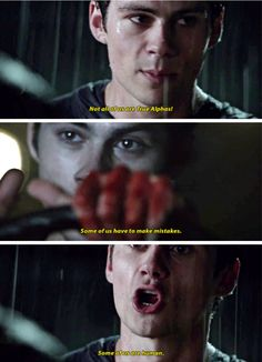 My heart broke for him. I was so disappointed in Scott but neither of them talked to each other properly Teen Wolf Stydia, Teen Wolf Mtv, Teen Wolf Funny, Teen Wolf Dylan, Teen Wolf Stiles, Teen Wolf Cast, Teen Wolf Quotes, Teen Wolf Memes, Dylan O'brien
