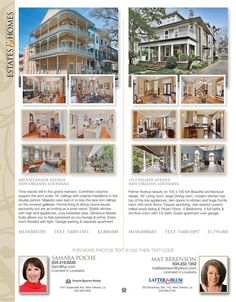 Samara Poche and Mat Berenson are the agents for these great listings in our Homes & Land of Greater New Orleans, LA Online Magazine-2154 - Volume 11 Issue 02