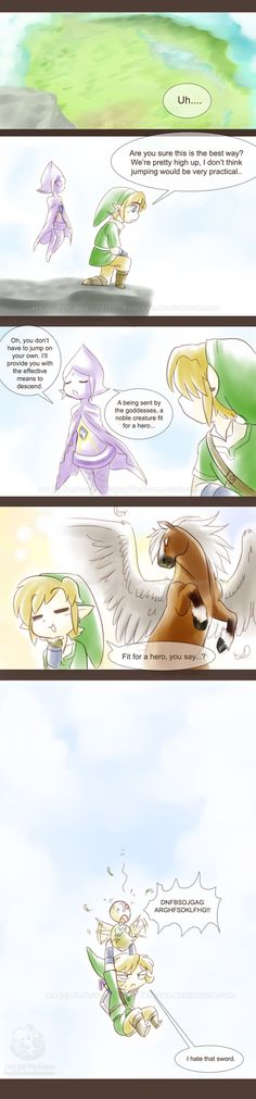 The Legend of Zelda: Skyward Sword and The Legend of Zelda: Twilight Princess | Link, Fi, and Ooccoo / LoZ: Fit for a Hero by Ferisae on deviantART