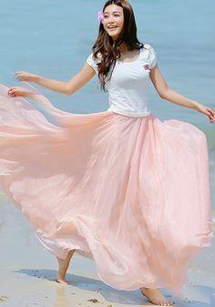 Pink Plain Draped Wavy Edge Bohemian Chiffon Skirt - Skirts - Bottoms