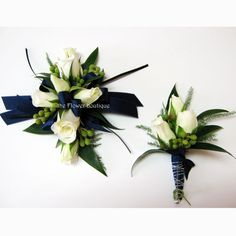 Navy with white baby rose corsage and boutonniere (Navy to match dress, white to contrast? Blue Corsage, Corsage And Boutonniere, Flower Corsage, Wrist Corsage, Green Boutonniere, Prom Flowers, Bridal Flowers, Corsage Wedding, Prom Corsage