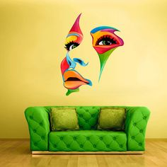 Full Color Wall Decal Mural Sticker Decor Art Poster Gift Face Eye Lips Color  (col373)