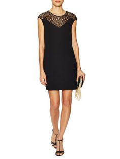 Cotton Lace Yoke Shift Dress by Halston Heritage at Gilt