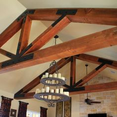 Trusses in Family Room at North Texas Ranch Home. Design by Steve Chambers, registered Architect in Texas and Oklahoma.