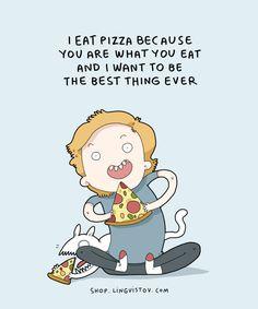 Shop.lingvistov.com - #illustrations, #doodles, #joke, #humor, #cartoon, #cute, #funny, #comics, #greeting #cards, #joke, #drawing, #girl, #lingvistov, #food, #pizza, #cats