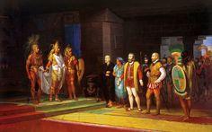 Hernán Cortés meeting with the Aztec emperor