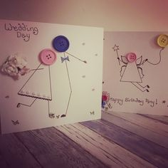 A beginners guide to button card making…. I recently received this personalised button card from my soon to be sister-in-law and I instantly loved it. I'd never seen anything like this … Button Cards, Card Ideas, Law, Sisters, Card Making, Wedding Day, Birthday, How To Make, Crafts