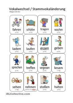 Verben/Verbs - To test students, white out the vowel change and write it on the back as a flashcard, then have them write/speak all the conjugations! Fun. :)