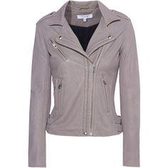 IRO Han Stone Grey // Leather biker jacket featuring polyvore women's fashion clothing outerwear jackets leather motorcycle jacket asymmetrical zipper jacket gray jacket leather jackets real leather jackets