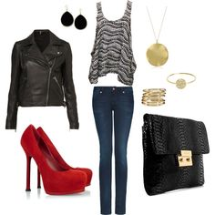 Black & gold with hot red pumps!! Definitely a girls night out outfit!!