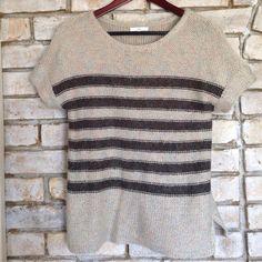 Beautiful short sleeve open knit top In excellent condition. Open it sweater top. Neutral tones. GAP Sweaters Crew & Scoop Necks