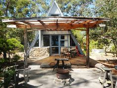 A-frame with wonderful outside area.