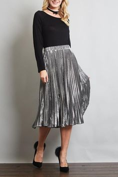9c263d46032698 Metallic pleated midi skirt with a stretch bands waist. Available in a  burgundy/hot. Shoptiques