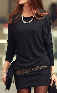 Charming Black Long Sleeve Round Neck Cotton Straight Dress