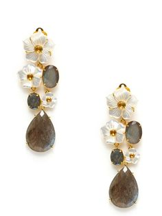 Carved Mother Of Pearl Floral Drop Earrings