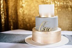 Wedding Cake, Love, gold backdrop, champagne, gold, ombre, grey, 3 tiered cake, cake by JaCivas in Portland Oregon, Love wedding cake topper by BetterOffWed, photo by Shelsi Lindquist Photography