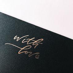 WITH LOVE / rose gold foil on black envelope Black Envelopes, Rose Gold Foil, Love Rose, Invitation Design, Invite, Branding Design, Logo Design, Wedding Events, Wedding Invitations