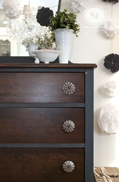 "This vintage dresser was painted and stained. Love the ""Vintage Velvet"" from Bluestone Cottage Chalky Patina Paints!"