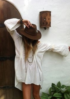 white dress + brown boho hat