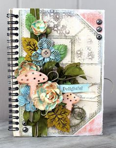 Album by Cari Fennell using Divine Spiral Journal, Wood Embellishments and mechanicals