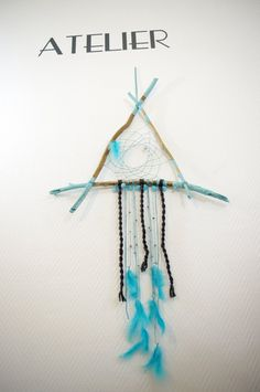 Blue green dreamcatcher in driftwood by Josephinedeco on Etsy